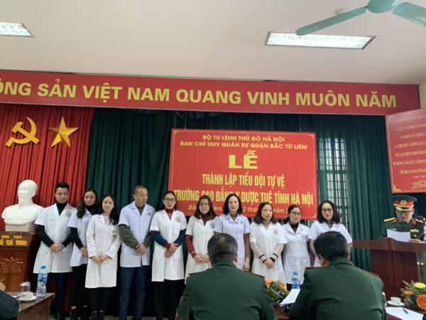 Trường Cao đẳng Y Dược Tuệ Tĩnh Hà Nội Công bố quyết định thành lập và ra mắt Tiểu đội dân quân tự vệ.